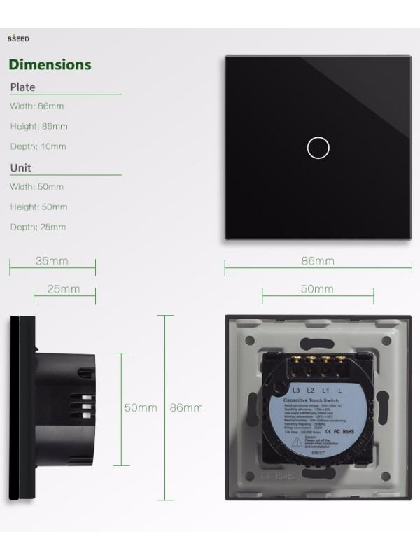 Întrerupătoare simplu Touch JLM1-102-BK